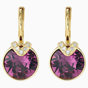 Pendientes Bella V, violeta, Baño en tono Oro - Swarovski, 5509404