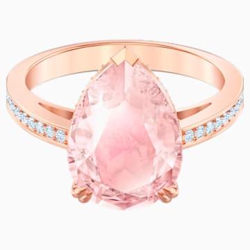 Vintage Коктейльное кольцо, Розовый Кристалл, Покрытие оттенка розового золота - Swarovski, 5509670