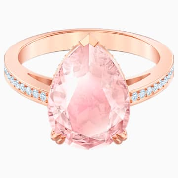 Vintage Cocktail Ring, Pink, Rose-gold tone plated - Swarovski, 5509670