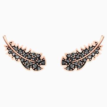 Naughty stekker záras fülbevaló, fekete, rózsaarany színű bevonattal - Swarovski, 5509722