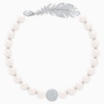 Pulsera Nice Pearl, blanco, Baño de Rodio - Swarovski, 5509723