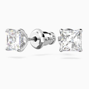 Attract 穿孔耳环, 白色, 镀铑 - Swarovski, 5509936
