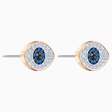 Pendientes de botón Swarovski Symbolic, azul, Baño en tono Oro Rosa - Swarovski, 5510067
