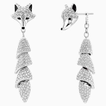 Polar Bestiary Drop Pierced Earrings, Multi-colored, Rhodium plated - Swarovski, 5510844