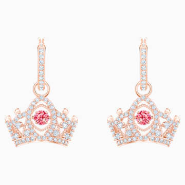 Bee A Queen Drop Pierced Earrings, Red, Rose-gold tone plated - Swarovski, 5510985