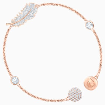 Swarovski Remix Collection Feather Strand, blanc, Métal doré rose - Swarovski, 5511003