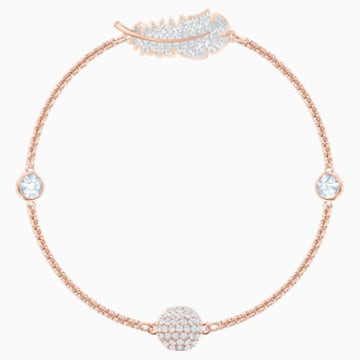 Swarovski Remix Collection Feather Strand, White, Rose-gold tone plated - Swarovski, 5511088
