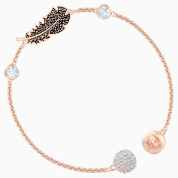 Swarovski Remix Collection Feather Strand, Black, Rose-gold tone plated - Swarovski, 5511089