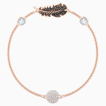 Swarovski Remix Collection Feather Strand, Black, Rose-gold tone plated - Swarovski, 5511101