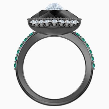 Black Baroque Motif Ring, Multi-colored, Ruthenium plated - Swarovski, 5511388