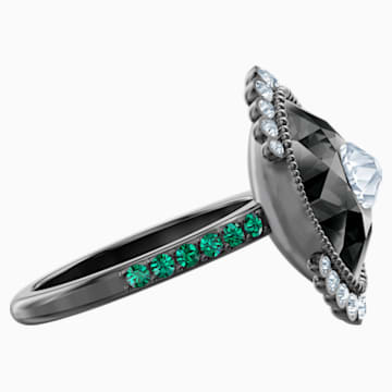 Black Baroque Motif Ring, Multi-coloured, Ruthenium plated - Swarovski, 5511389