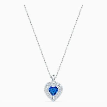 Pandantiv One, albastru, placat cu rodiu - Swarovski, 5511541