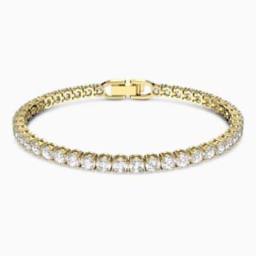 Tennis Deluxe 手鏈, 白色, 鍍金色色調 - Swarovski, 5511544