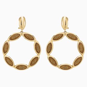 Evil Eye Hoop Pierced Earrings, Brown, Gold-tone plated - Swarovski, 5511550