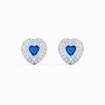 One 耳釘, 藍色, 鍍白金色 - Swarovski, 5511685