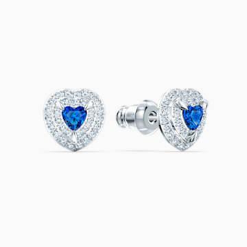 Boucles d'oreilles clous One, bleu, métal rhodié - Swarovski, 5511685