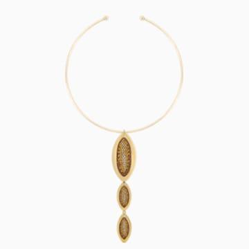 Evil Eye Torque Necklace, Long, Brown, Gold-tone plated - Swarovski, 5511771