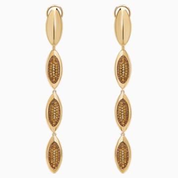Evil Eye Drop Pierced Earrings, Brown, Gold-tone plated - Swarovski, 5511785