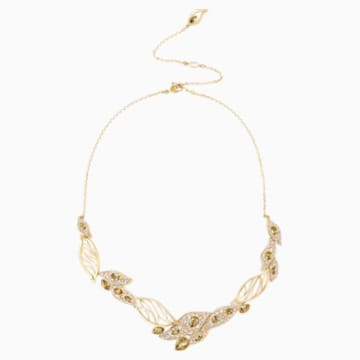Graceful Bloom Statement Necklace, Brown, Gold-tone plated - Swarovski, 5511811