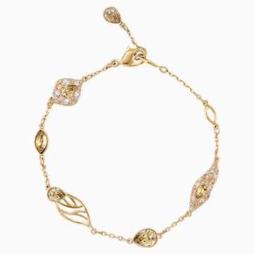 Graceful Bloom Decorative Bracelet, Brown, Gold-tone plated - Swarovski, 5511814
