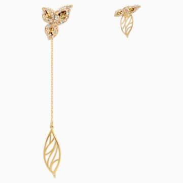 Pendientes asimétricos Graceful Bloom, marrón, Baño en tono Oro - Swarovski, 5511818