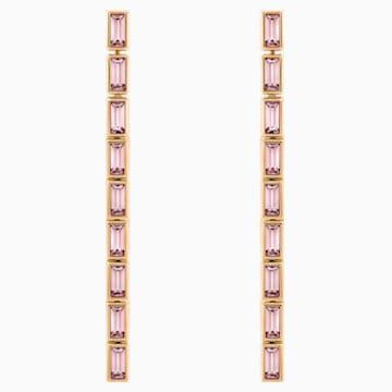 Boucles d'oreilles détachables Fluid, mauve, Métal doré rose - Swarovski, 5512007