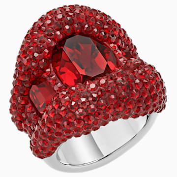 Tigris Cocktail 戒指, 紅色, 鍍鈀色 - Swarovski, 5512345
