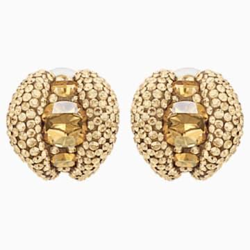 Pendientes stud de clip Tigris, tono dorado, baño tono oro - Swarovski, 5512346
