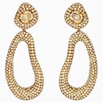 Tigris 水滴形耳夾耳環, 金色, 鍍金色色調 - Swarovski, 5512348