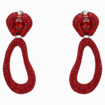 Pendientes de clip de gota Tigris, rojo, Baño de Paladio - Swarovski, 5512355