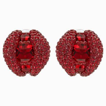 Clous d'oreilles clip Tigris, rouge, Métal plaqué palladium - Swarovski, 5512356