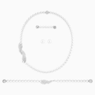 Conjunto Nice, blanco, Baño de Rodio - Swarovski, 5512380