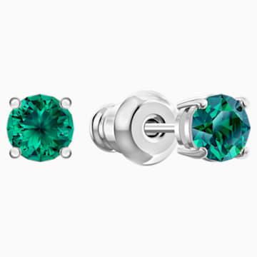Pendientes de botón Attract, verde, Baño de Rodio - Swarovski, 5512384