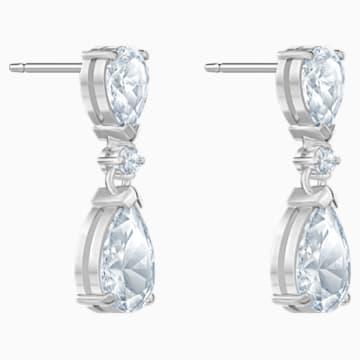 Boucles d'oreilles drop Attract, blanc, Métal rhodié - Swarovski, 5512393