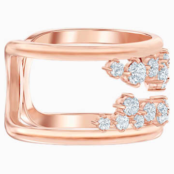 North Motif Ring, White, Rose-gold tone plated - Swarovski, 5512431