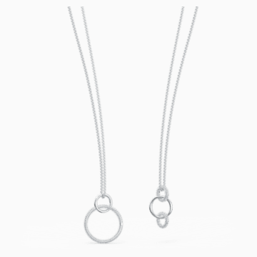 Stone Necklace, White, Rhodium plated - Swarovski, 5512604