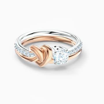 Anillo Lifelong Heart, blanco, combinación de acabados metálicos - Swarovski, 5512626
