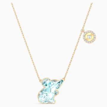 Chinese Zodiac Rat 项链, 海蓝色, 镀金色调 - Swarovski, 5512646