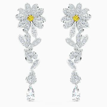 Eternal Flower İğneli Küpeler, Sarı, Karışık metal bitiş - Swarovski, 5512655