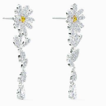 Eternal Flower 穿孔耳环, 黄色, 多种金属润饰 - Swarovski, 5512655