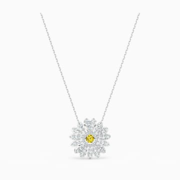 Eternal Flower Kolye Ucu, Sarı, Rodyum kaplama - Swarovski, 5512660