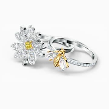 Eternal Flower Yüzük Seti, Sarı, Karışık metal bitiş - Swarovski, 5512661