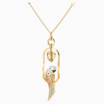 Tropical Parrot 项链, 浅色渐变, 镀金色调 - Swarovski, 5512686