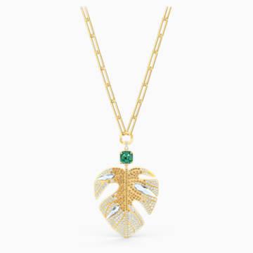 Pendentif Tropical Leaf, multicolore clair, métal doré - Swarovski, 5512695
