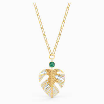 Tropical Leaf Kolye Ucu, Açık renkli, Altın rengi kaplama - Swarovski, 5512695