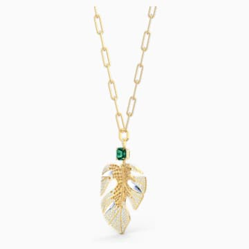 Tropical Leaf 链坠, 浅色渐变, 镀金色调 - Swarovski, 5512695