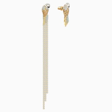 Tropical Parrot 穿孔耳环, 浅色渐变, 镀金色调 - Swarovski, 5512708