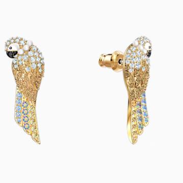 Tropical Parrot İğneli Küpeler, Açık renkli, Altın rengi kaplama - Swarovski, 5512708
