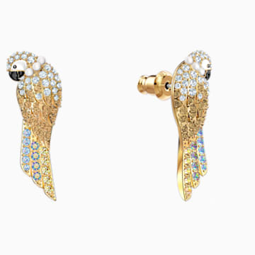 Tropical Parrot Pierced Earrings, Light multi-coloured, Gold-tone plated - Swarovski, 5512708
