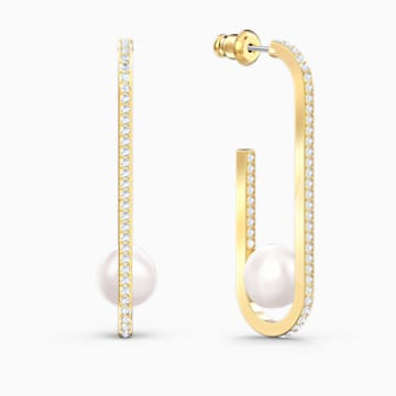 So Cool Pearl Pierced Earrings, White, Gold-tone plated - Swarovski, 5512736